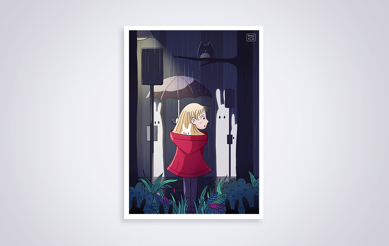 Illustration Seule dans les bois - Alone in the woods