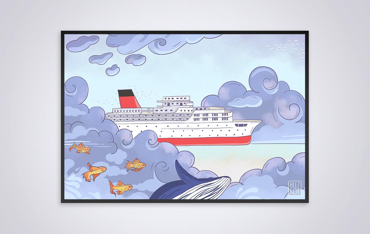 Illustration Le bateau dans le ciel - Flying boat