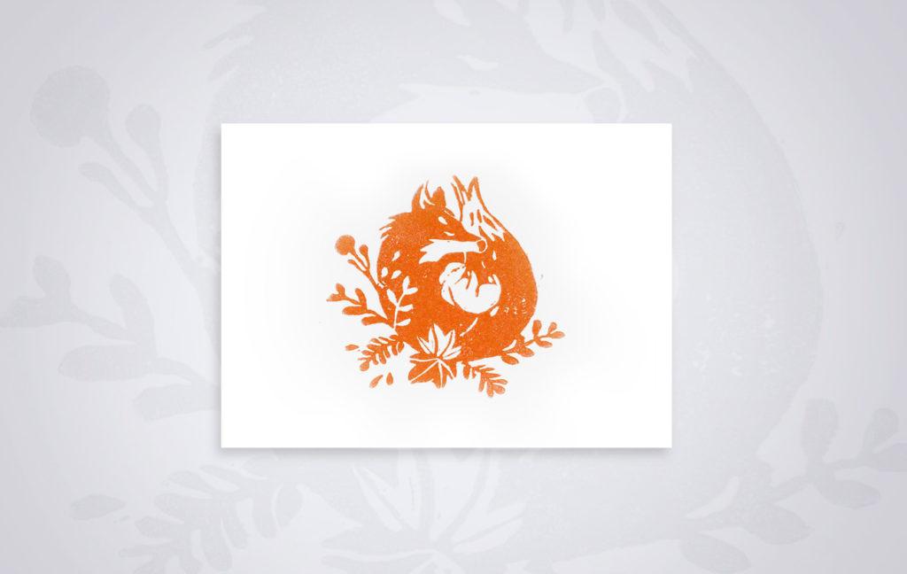 Linogravure renard - Fox linocut