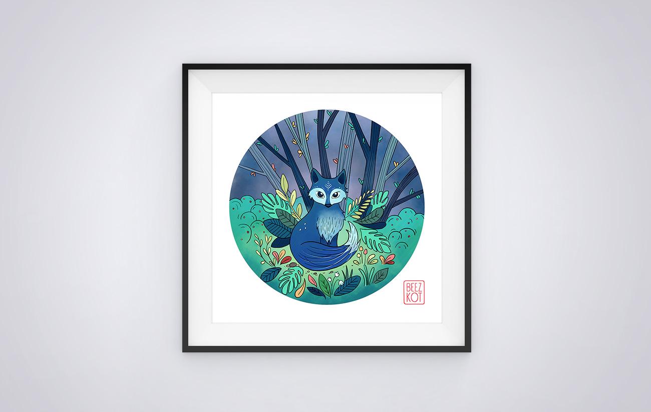 Illustration blue fox