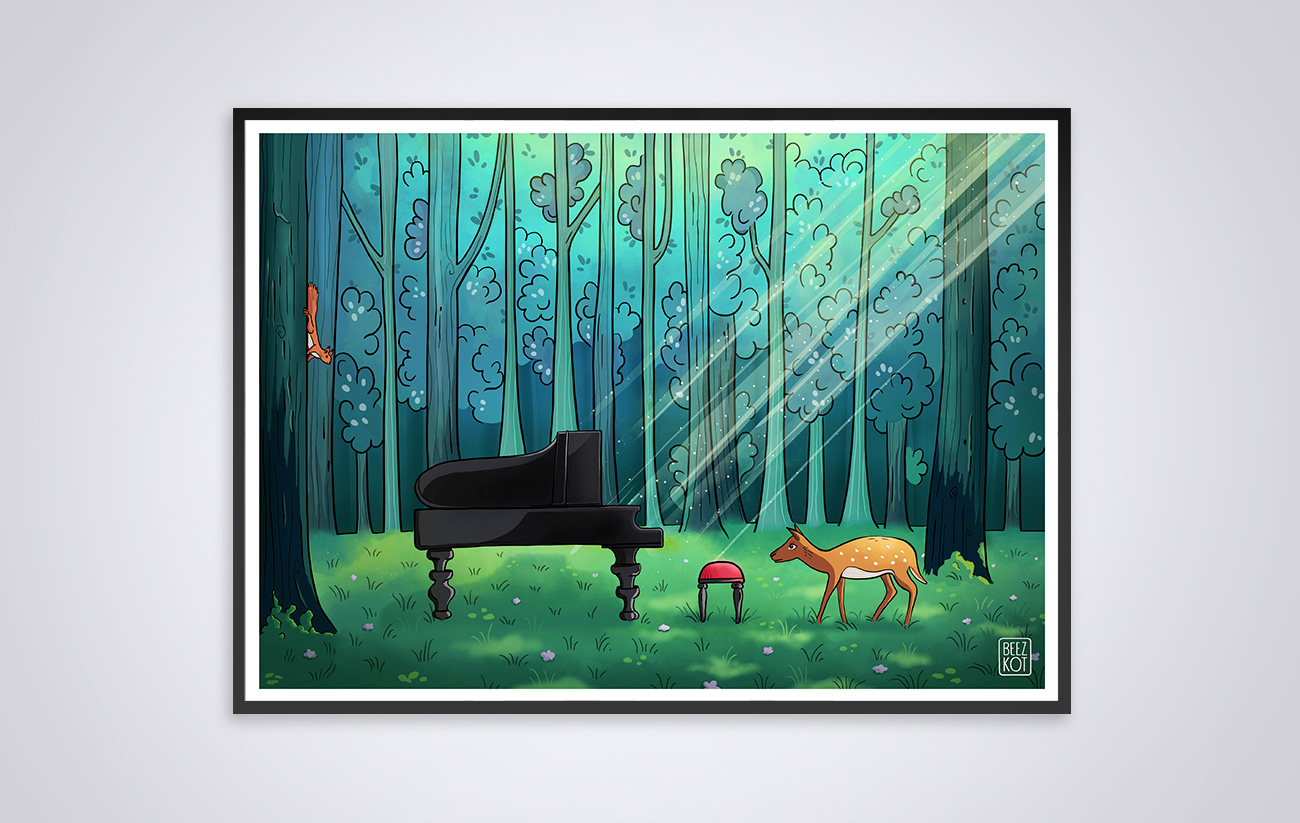Deer and piano in the forest