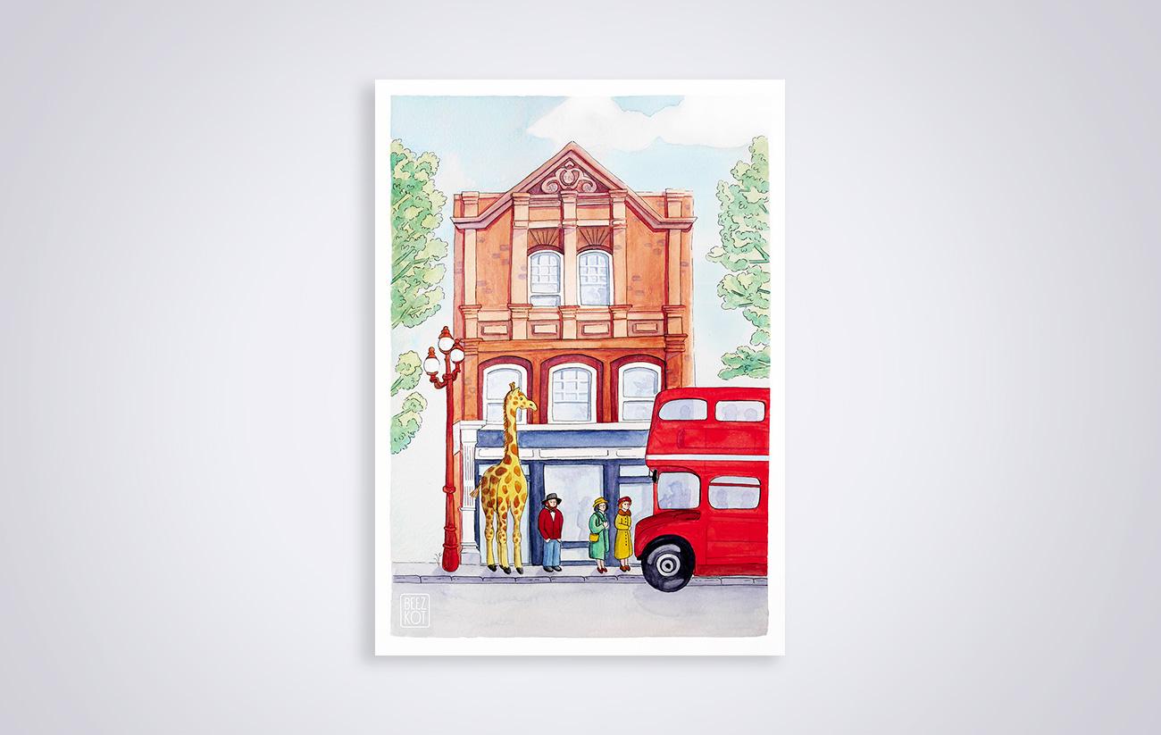 giraffe london bus