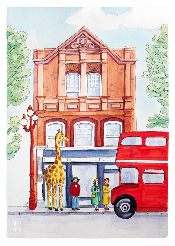 giraffe london bus
